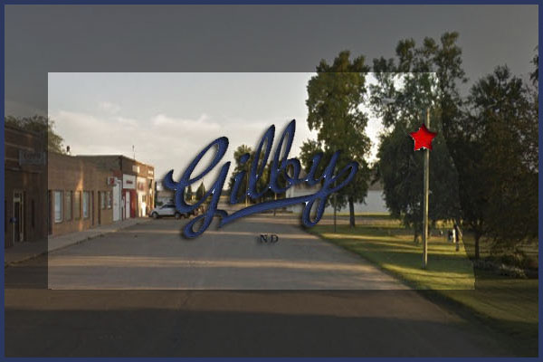 Gilby North Dakota website logo and main street picture